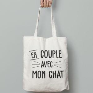 """Image de tote-bag """"En couple avec mon chat"""" - MCL Sérigraphie"""