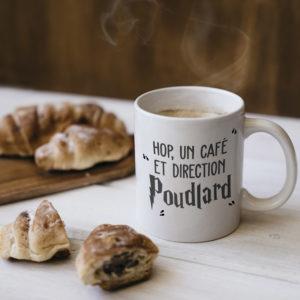 """Image de mug """"Hop, un café et direction Poudlard - Harry Potter"""" - MCL Sérigraphie"""