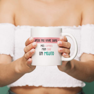 """Image de mug """"J'peux pas vivre sans mes copines, mon chat, un mojito"""" - MCL Sérigraphie"""
