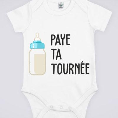 """Image de body blanc pour bébé """"Paye ta tournée"""" - MCL Sérigraphie"""
