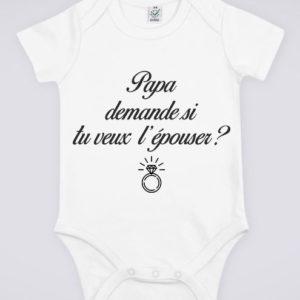 """Image de body blanc pour bébé """"Papa demande si tu veux l'épouser ?"""" - MCL Sérigraphie"""