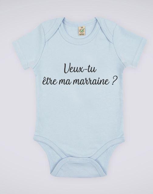 """Image de body bleu pour bébé """"Veux-tu être ma marraine ?"""" - MCL Sérigraphie"""