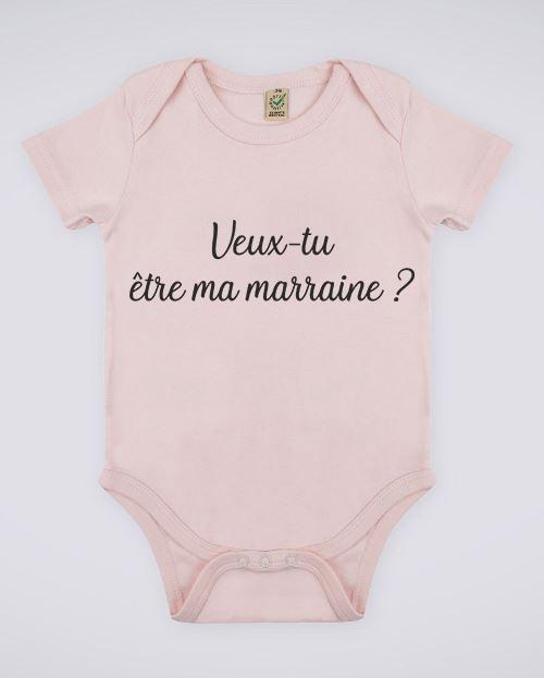 """Image de body rose pour bébé """"Veux-tu être ma marraine ?"""" - MCL Sérigraphie"""