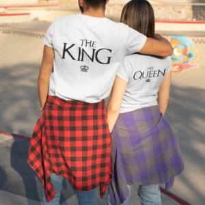"""Image de duo de t-shirts blancs couple """"The King/His Queen"""" - MCL Sérigraphie"""