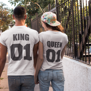 T-shirts duo couple King/Queen blanc