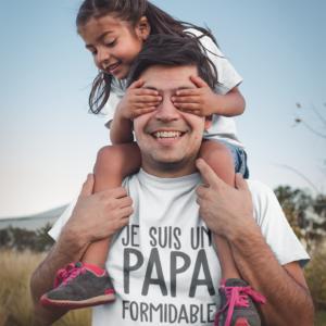 """Image de t-shirt blanc homme """"Je suis un papa formidable"""" - MCL Sérigraphie"""
