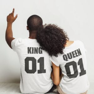 "Image de t-shirts blanc couple ""King/Queen"" - MCL Sérigraphie"