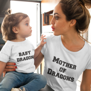 "Image de duo t-shirts blancs femme et enfant ""Baby Dragon/Mother of Dragons"" - MCL Sérigraphie"