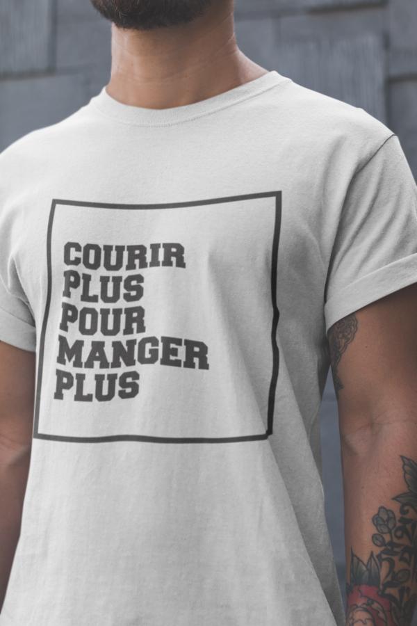 """Image de t-shirt blanc pour homme """"Courir plus pour manger plus"""" - MCL Sérigraphie"""