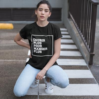 """Image de t-shirt noir pour femme """"Courir plus pour manger plus"""" - MCL Sérigraphie"""