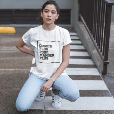 """Image de t-shirt blanc pour femme """"Courir plus pour manger plus"""" - MCL Sérigraphie"""