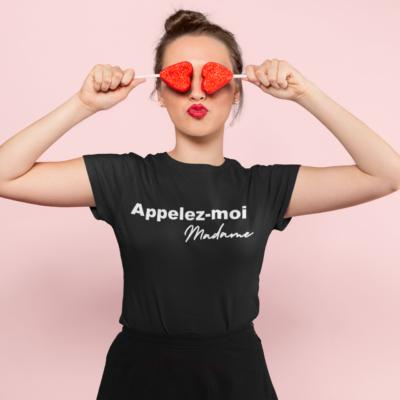 """Image de t-shirt noir pour femme """"Appelez-moi Madame"""" - MCL Sérigraphie"""