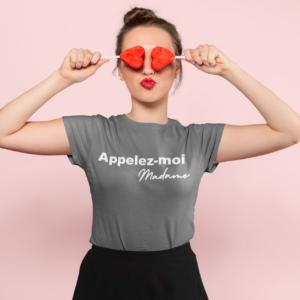 """Image de t-shirt gris pour femme """"Appelez-moi Madame"""" - MCL Sérigraphie"""