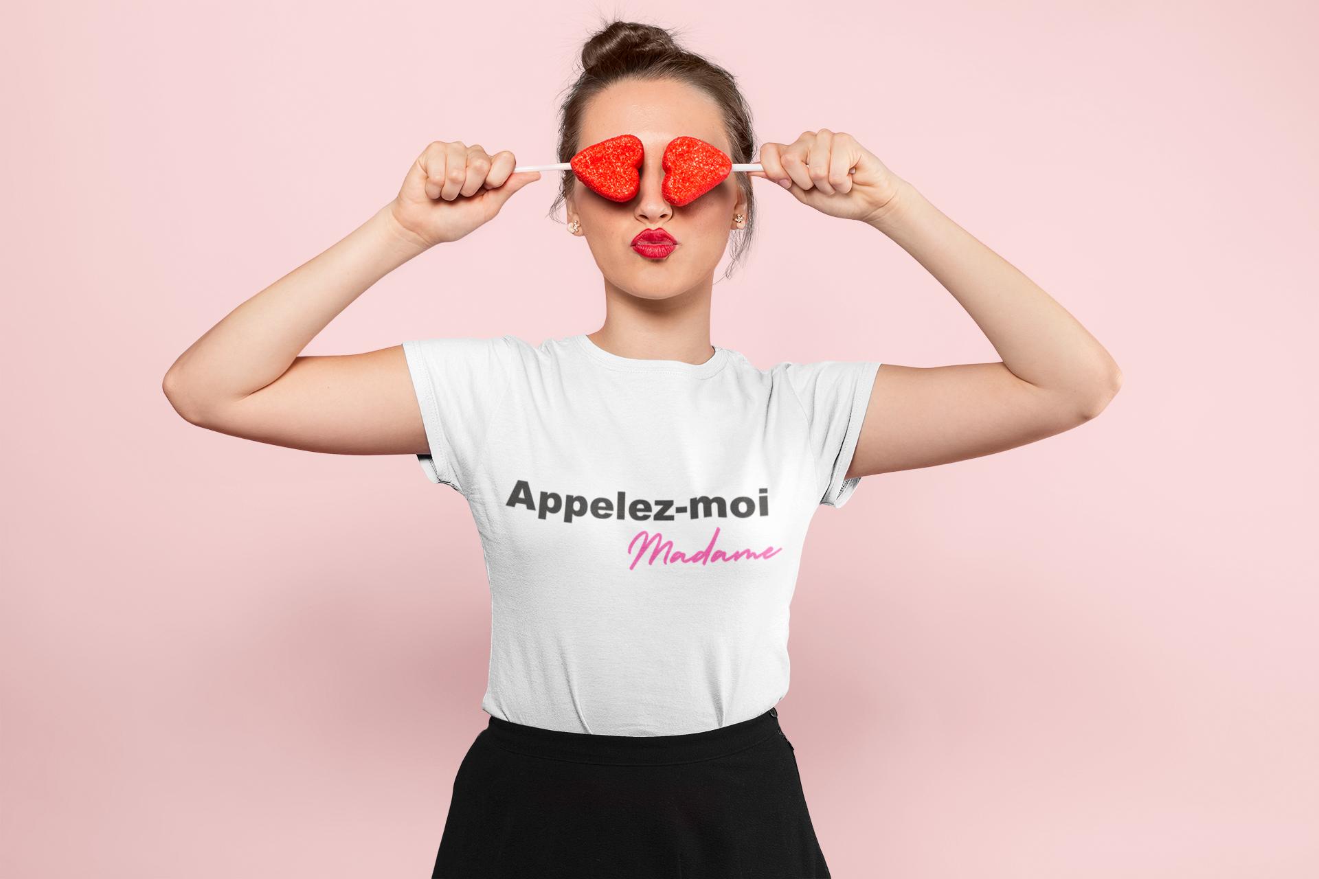 """Image de t-shirt blanc pour femme """"Appelez-moi Madame"""" - MCL Sérigraphie"""