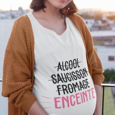 """Image de t-shirt blanc pour femme enceinte """"Alcool, saucisson, formage, enceinte"""" - MCL Sérigraphie"""