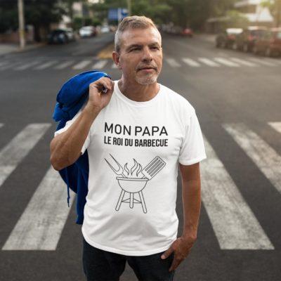 """Image de t-shirt blanc pour homme """"Mon papa le roi du barbecue"""" - MCL Sérigraphie"""