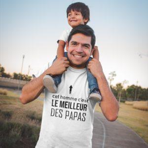 """Image de t-shirt blanc pour homme """"Cet homme c'est le meilleur des papas"""" - MCL Sérigraphie"""