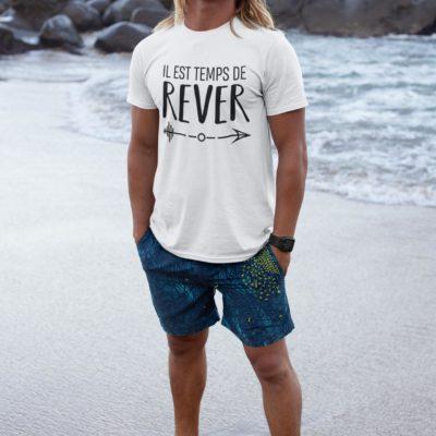 """Image de t-shirt blanc pour homme """"Il est temps de rêver"""" - MCL Sérigraphie"""