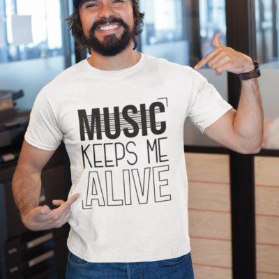 """Image de t-shirt blanc pour homme """"Music keeps me alive"""" - MCL Sérigraphie"""