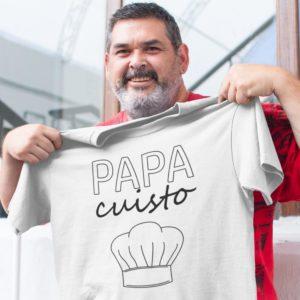 """Image de t-shirt blanc pour homme """"Papa cuisto"""" - MCL Sérigraphie"""