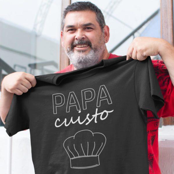 """Image de t-shirt noir pour homme """"Papa cuisto"""" - MCL Sérigraphie"""