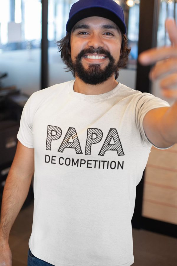 """Image de t-shirt blanc pour homme """"Papa de compétition"""" - MCL Sérigraphie"""