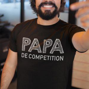 """Image de t-shirt noir pour homme """"Papa de compétition"""" - MCL Sérigraphie"""