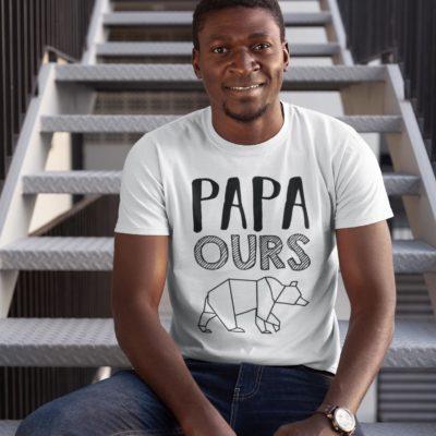 """Image de t-shirt blanc pour homme """"Papa ours"""" - MCL Sérigraphie"""