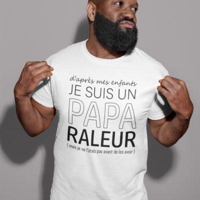 """Image de t-shirt blanc pour homme """"Je suis un papa raleur"""" - MCL Sérigraphie"""