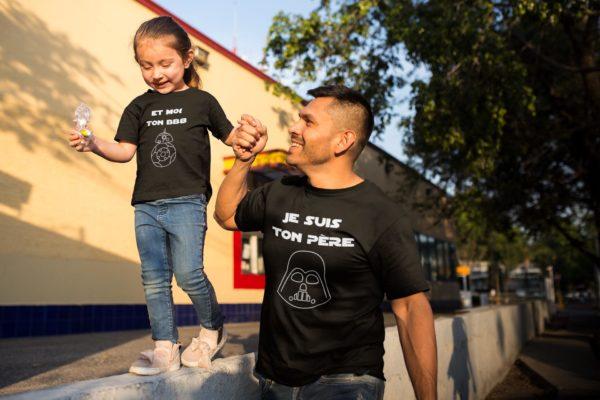 """Image de duos de t-shirts noirs pour enfant et homme """"Je suis ton père"""" et """"Et moi ton BB8"""" - MCL Sérigraphie"""