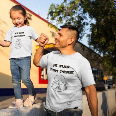 """Image de duos de t-shirts blancs pour enfant et homme """"Je suis ton père"""" et """"Et moi ton BB8"""" - MCL Sérigraphie"""