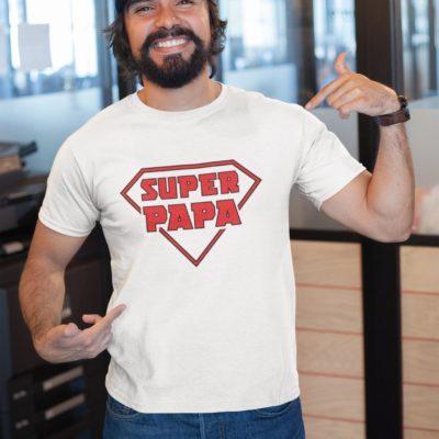 """Image de t-shirt blanc pour homme """"Super papa"""" - MCL Sérigraphie"""