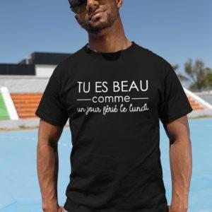 T-shirt - Beau comme un jour férié le lundi NOIR