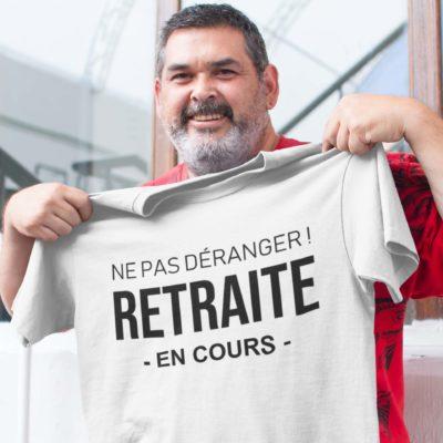 """Image de t-shirt blanc pour homme """"Ne pas déranger ! Retraite en cours"""" - MCL Sérigraphie"""