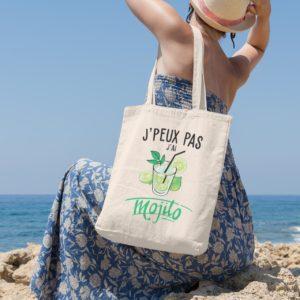 """Image de tote-bag """"J'peux pas j'ai mojito"""" - MCL Sérigraphie"""