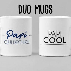 """Image de duo de mugs """"Papi qui déchire"""" et """"Papi cool"""" - MCL Sérigraphie"""