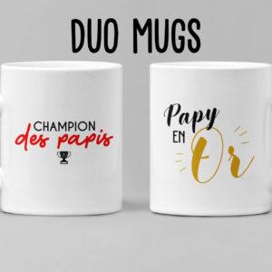 """Image de duo de mugs """"Champion des papis"""" et """"Papy en or"""" - MCL Sérigraphie"""