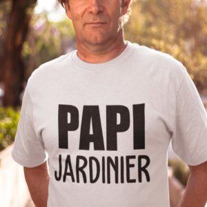 """Image de t-shirt blanc pour homme """"Papi jardinier"""" - MCL Sérigraphie"""