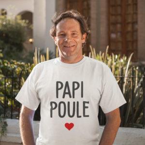 """Image de t-shirt blanc pour homme """"Papi poule"""" - MCL Sérigraphie"""