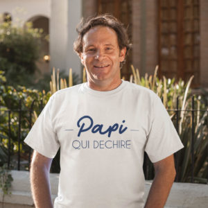 """Image de t-shirt blanc pour homme """"Papi qui déchire"""" - MCL Sérigraphie"""