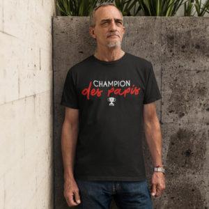 """Image de t-shirt noir pour homme """"Champion des papis"""" - MCL Sérigraphie"""