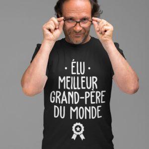 """Image de t-shirt noir pour homme """"Elu meilleur grand-père du monde"""" - MCL Sérigraphie"""