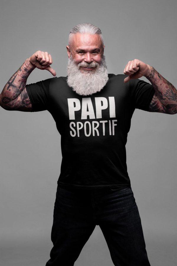 """Image de t-shirt noir pour homme """"Papi sportif"""" - MCL Sérigraphie"""