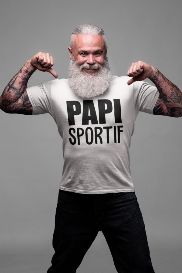 """Image de t-shirt blanc pour homme """"Papi sportif"""" - MCL Sérigraphie"""