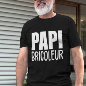 """Image de t-shirt noir pour homme """"Papi bricoleur"""" - MCL Sérigraphie"""
