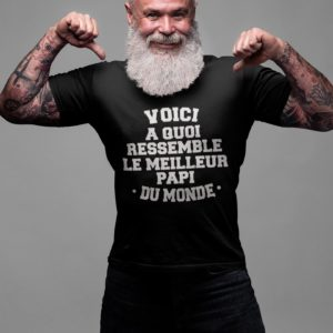 """Image de t-shirt noir pour homme """"Voici a quoi ressemble le meilleur papi du monde"""" - MCL Sérigraphie"""