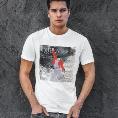 """Image de t-shirt blanc pour homme """"Freddie Mercury"""" - MCL Sérigraphie"""