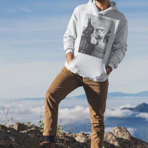 """Image de sweat à capuche blanc pour homme """"Selfie à Paris - Star Wars"""" - MCL Sérigraphie"""