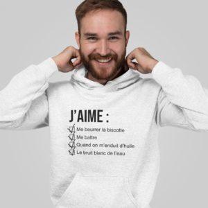 """Image de sweat à capuche blanc pour homme """"J'aime me beurrer la biscotte - OSS 117"""" - MCL Sérigraphie"""