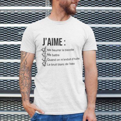 """Image de t-shirt blanc pour homme """"J'aime me beurrer la biscotte - OSS 117"""" - MCL Sérigraphie"""